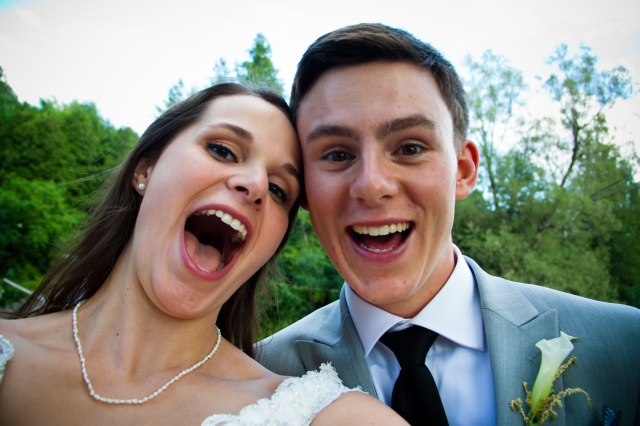 Bride and Groom being goofy